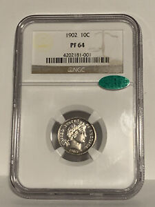 1902 PROOF 64 CAC GREEN BEAN BARBER DIME   NGC GRADED