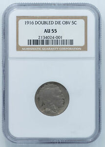 Click now to see the BUY IT NOW Price! 1916 DOUBLED DIE BUFFALO NICKEL. NGC AU 55