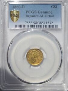 Click now to see the BUY IT NOW Price! 1860 D LARGE INDIAN HEAD 1 DOLLAR TYPE 3  COIN PCGS AU GOLD SHIELD
