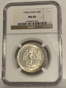 Click now to see the BUY IT NOW Price! 1946 NGC MS 68 IOWA COMMEMORATIVE LIGHT TONING