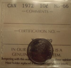 SUPER GEM CANADA ELIZABETH II 1972 TEN CENTS   ICCS MS 66  XQC 129