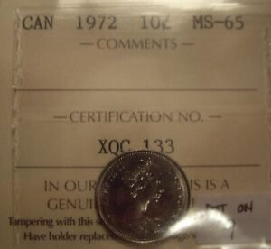 CANADA ELIZABETH II 1972 DOT ON 9 TEN CENTS   ICCS MS 65  XQC 133