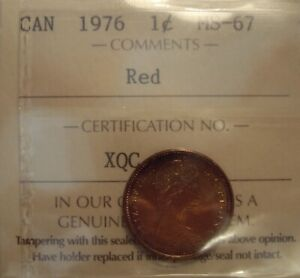 TIED FINEST CANADA ELIZABETH II 1976 SMALL CENT   ICCS MS 67  XQC 048