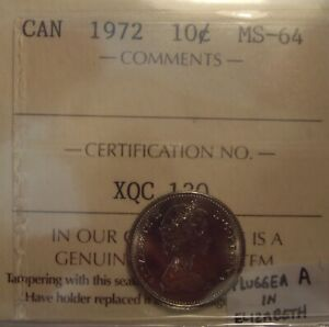 CANADA ELIZABETH II 1972 PLUGGED A TEN CENTS   ICCS MS 64  XQC 130