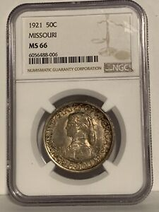 1921 MISSOURI COMMEMORATIVE HALF DOLLAR MS66 NGC