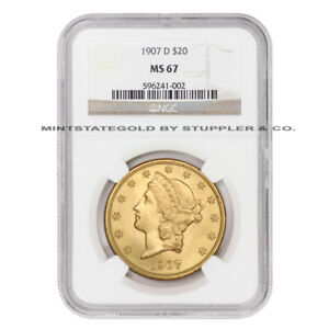 Click now to see the BUY IT NOW Price! 1907 D $20 GOLD LIBERTY HEAD NGC MS67 GEM GRADED DENVER DOUBLE EAGLE ULTRA