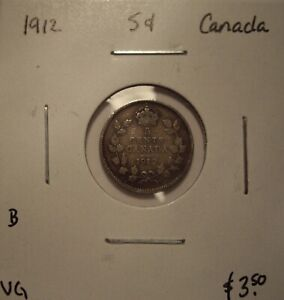 B CANADA GEORGE V 1912 SILVER FIVE CENTS   VG