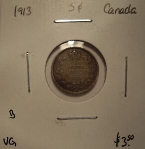 B CANADA GEORGE V 1913 SILVER FIVE CENTS   VG