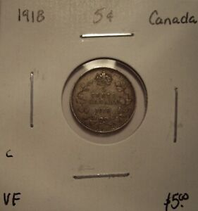 C CANADA GEORGE V 1918 SILVER FIVE CENTS   VF
