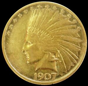 1907 GOLD UNITED STATES $10 INDIAN HEAD EAGLE NO MOTTO COIN XF