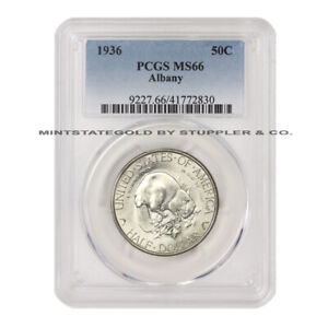 1936 50C SILVER ALBANY NEW YORK CHARTER COMMEMORATIVE PCGS MS66 HALF DOLLAR GEM