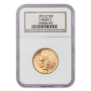 Click now to see the BUY IT NOW Price! 1910 D $10 INDIAN HEAD NGC MS67 GEM GRADED DENVER GOLD EAGLE TIED FOR FINEST