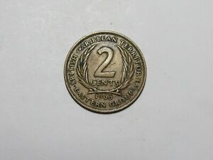 OLD BRITISH CARIBBEAN TERRITORIES COIN   1963 2 CENTS   SPOTS SCRATCH
