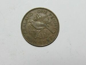 OLD NEW ZEALAND COIN   1957 PENNY   CIRCULATED DISCOLORED