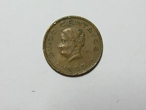 OLD MEXICO COIN   1955 LARGE SIZE 5 CENTAVOS   CIRCULATED SCRATCHES RIM DAMAGE