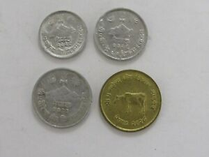 LOT OF 4 DIFFERENT NEPAL COINS   1969 TO 1975   CIRCULATED