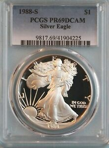 1988 S SILVER EAGLE PCGS PR69DCAM   ASE   3RD YEAR OF ISSUE
