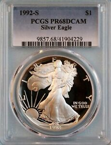 1992 S SILVER EAGLE PCGS PR68DCAM   ASE   7TH YEAR OF ISSUE
