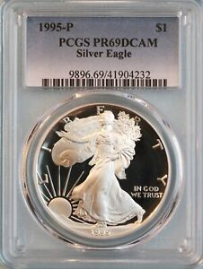 1995 P SILVER EAGLE PCGS PR69DCAM   ASE   10TH YEAR OF ISSUE