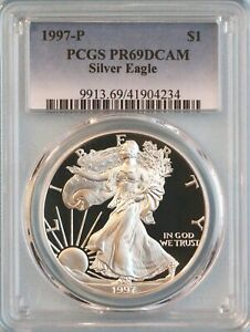 1997 P SILVER EAGLE PCGS PR69DCAM   ASE   12TH YEAR OF ISSUE