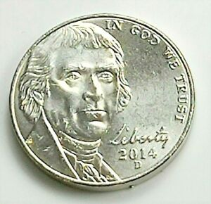 2014 D JEFFERSON NICKEL    BU COIN PULLED FROM OBWROLL