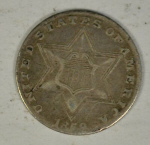 1858 3 CENT SILVER TYPE 2 XF
