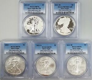 2011 SILVER EAGLE 25TH ANNIVERSARY SET  PCGS CERTIFIED 70'S