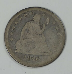 1846 LIBERTY SEATED  QUARTER GOOD SILVER 25C