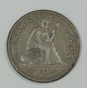 BARGAIN 1862 LIBERTY SEATED  QUARTER EXTRA FINE SILVER 25C