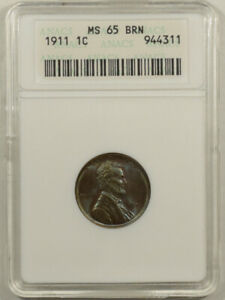 1911 LINCOLN CENT   ANACS MS 65BRN GORGEOUS