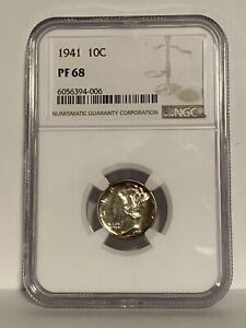 Click now to see the BUY IT NOW Price!  1941 NGC PF 68 MERCURY DIME RAINBOW COIN TONING 10C TEN CENTS PROOF 68 PR