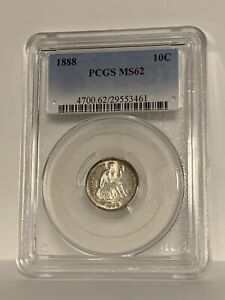 1888 LIBERTY SEATED DIME   PCGS MS 62 FLASHY LUSTROUS
