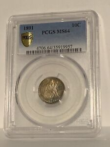1891 SEATED LIBERTY DIME PCGS MS64