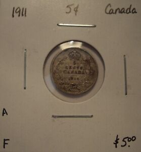 A CANADA GEORGE V 1911 SILVER FIVE CENTS   F