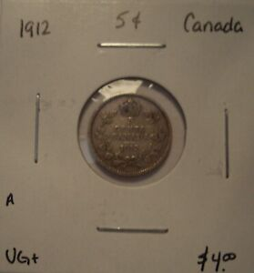 A CANADA GEORGE V 1912 SILVER FIVE CENTS   VG