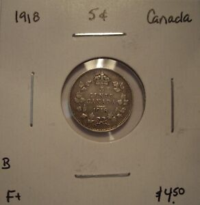 B CANADA GEORGE V 1918 SILVER FIVE CENTS   F