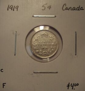 C CANADA GEORGE V 1919 SILVER FIVE CENTS   F
