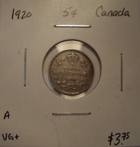 A CANADA GEORGE V 1920 SILVER FIVE CENTS   VG