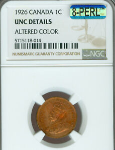 1926 CANADA CENT NGC MS 63   64 ALTERED COLOR  MAC 8 PERL 1ST STRIKE .