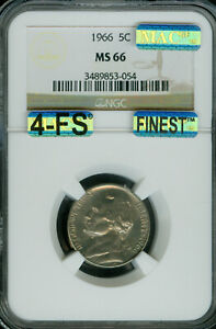Click now to see the BUY IT NOW Price! 1966 JEFFERSON NICKEL NGC MAC MS 66 4FS FINEST GRADE SPOTLESS $20 000 FOR FS .