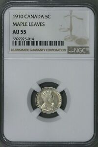 CANADA 1910 5 CENT ROUND MAPLE LEAVES NGC AU 55   S194