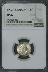 CANADA 1902 H 10 CENT NGC MS 63   S197