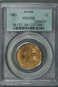 CANADA 1903 1 CENT GREEN LABEL PCGS MS 64 RB   S200