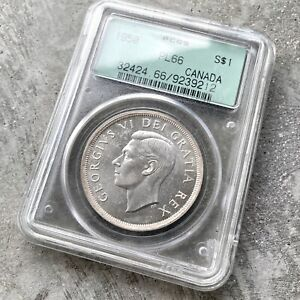 1950 CANADA 1 DOLLAR SILVER COIN ONE DOLLAR   PCGS PL 66   OLD GREEN HOLDER