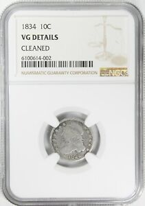 1834 CAPPED BUST DIME NGC VG DETAILS
