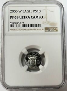 2000 W PLATINUM $10 PROOF EAGLE STATUE OF LIBERTY 1/10 OZ COIN NGC PF 69 UC