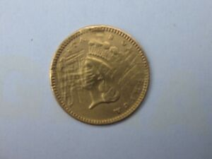 1874 INDIAN HEAD $1 DOLLAR TYPE 3 GOLD  EX JEWELRY BETTER DATE ROUGH OBVERSE