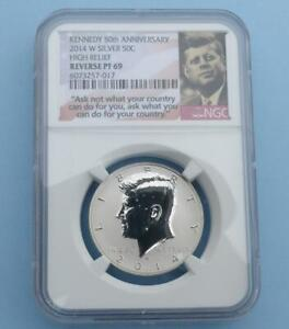 2014 W NGC PF 69 REVERSE PROOF KENNEDY 50TH ANNIVERSARY SILVER HALF DOLLAR COIN