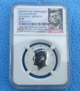 2014 W NGC PF 69 REVERSE PROOF KENNEDY SILVER HALF DOLLAR HIGH RELIEF 50C COIN
