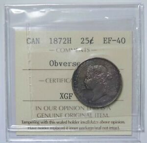 1872 H CANADA CANADIAN VICTORIA 25 TWENTY FIVE CENTS SILVER COIN ICCS CERTIFIED